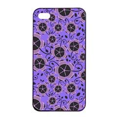 Flower Floral Purple Leaf Background Apple Iphone 4/4s Seamless Case (black)