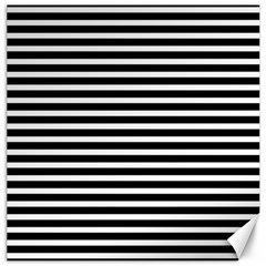 Horizontal Stripes Black Canvas 16  X 16