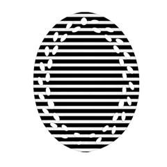Horizontal Stripes Black Ornament (oval Filigree)