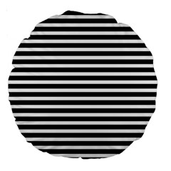 Horizontal Stripes Black Large 18  Premium Round Cushions