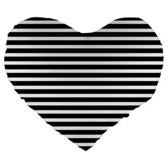 Horizontal Stripes Black Large 19  Premium Heart Shape Cushions