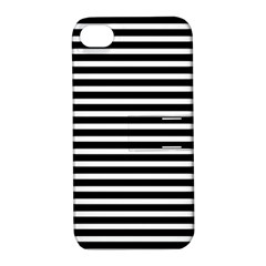 Horizontal Stripes Black Apple Iphone 4/4s Hardshell Case With Stand