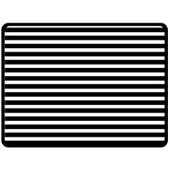 Horizontal Stripes Black Double Sided Fleece Blanket (large)