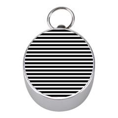 Horizontal Stripes Black Mini Silver Compasses