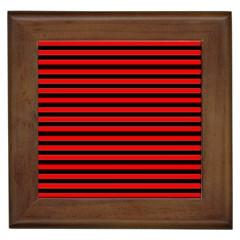 Horizontal Stripes Red Black Framed Tiles
