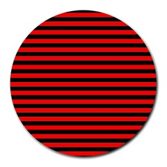 Horizontal Stripes Red Black Round Mousepads