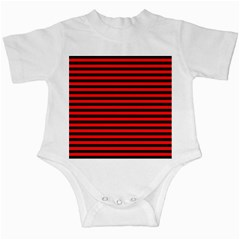 Horizontal Stripes Red Black Infant Creepers