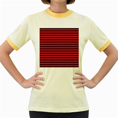 Horizontal Stripes Red Black Women s Fitted Ringer T Shirts