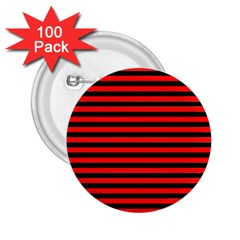 Horizontal Stripes Red Black 2 25  Buttons (100 Pack)