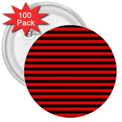 Horizontal Stripes Red Black 3  Buttons (100 Pack)