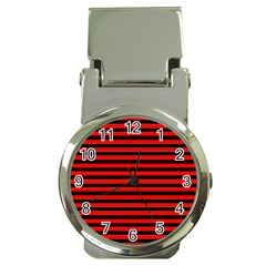 Horizontal Stripes Red Black Money Clip Watches