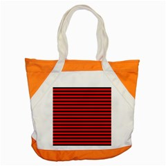 Horizontal Stripes Red Black Accent Tote Bag