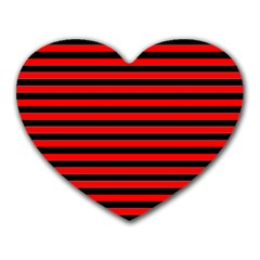 Horizontal Stripes Red Black Heart Mousepads