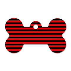Horizontal Stripes Red Black Dog Tag Bone (two Sides)