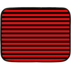 Horizontal Stripes Red Black Double Sided Fleece Blanket (mini)