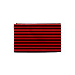 Horizontal Stripes Red Black Cosmetic Bag (small)