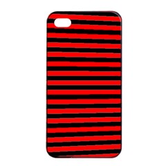 Horizontal Stripes Red Black Apple Iphone 4/4s Seamless Case (black)