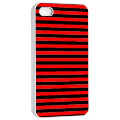Horizontal Stripes Red Black Apple Iphone 4/4s Seamless Case (white)