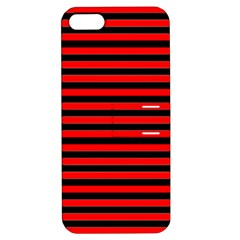 Horizontal Stripes Red Black Apple Iphone 5 Hardshell Case With Stand