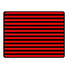 Horizontal Stripes Red Black Double Sided Fleece Blanket (small)