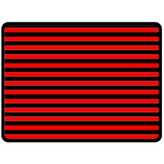 Horizontal Stripes Red Black Double Sided Fleece Blanket (large)