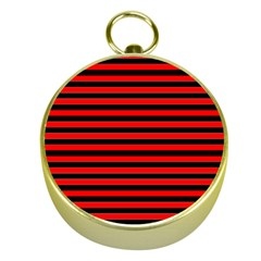 Horizontal Stripes Red Black Gold Compasses