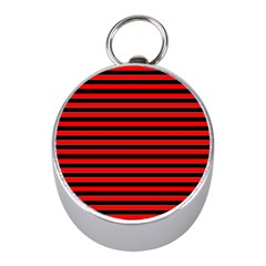 Horizontal Stripes Red Black Mini Silver Compasses
