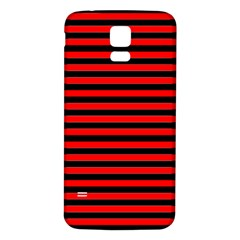 Horizontal Stripes Red Black Samsung Galaxy S5 Back Case (white)