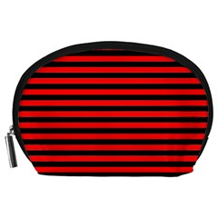 Horizontal Stripes Red Black Accessory Pouches (large)