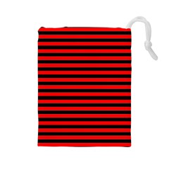 Horizontal Stripes Red Black Drawstring Pouches (large)