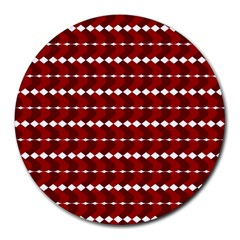 Heart Love Pink Red Wave Chevron Valentine Day Round Mousepads