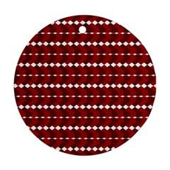 Heart Love Pink Red Wave Chevron Valentine Day Ornament (round)