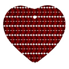 Heart Love Pink Red Wave Chevron Valentine Day Ornament (heart)