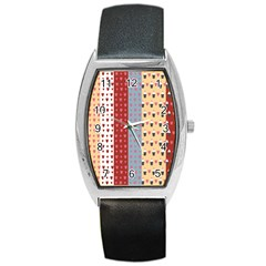 Love Heart Cake Valentine Red Gray Blue Pink Barrel Style Metal Watch