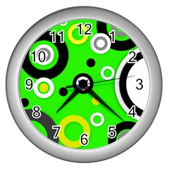 Florescent Green Yellow Abstract  Wall Clocks (silver)