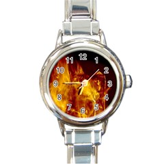 Ablaze Abstract Afire Aflame Blaze Round Italian Charm Watch