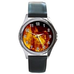 Ablaze Abstract Afire Aflame Blaze Round Metal Watch