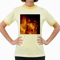 Ablaze Abstract Afire Aflame Blaze Women s Fitted Ringer T Shirts