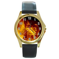 Ablaze Abstract Afire Aflame Blaze Round Gold Metal Watch
