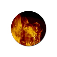 Ablaze Abstract Afire Aflame Blaze Rubber Round Coaster (4 Pack)