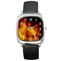 Ablaze Abstract Afire Aflame Blaze Square Metal Watch