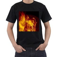 Ablaze Abstract Afire Aflame Blaze Men s T Shirt (black) (two Sided)
