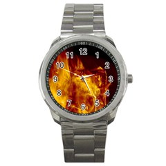 Ablaze Abstract Afire Aflame Blaze Sport Metal Watch