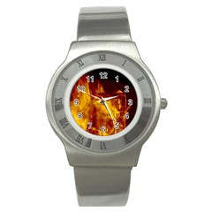 Ablaze Abstract Afire Aflame Blaze Stainless Steel Watch