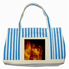 Ablaze Abstract Afire Aflame Blaze Striped Blue Tote Bag