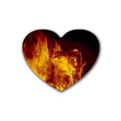 Ablaze Abstract Afire Aflame Blaze Rubber Coaster (heart)