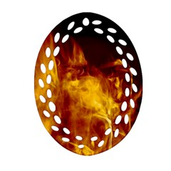 Ablaze Abstract Afire Aflame Blaze Ornament (oval Filigree)