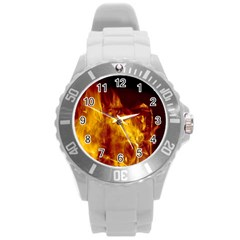 Ablaze Abstract Afire Aflame Blaze Round Plastic Sport Watch (l)