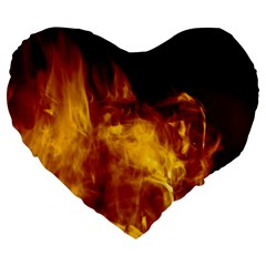 Ablaze Abstract Afire Aflame Blaze Large 19  Premium Heart Shape Cushions