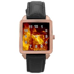 Ablaze Abstract Afire Aflame Blaze Rose Gold Leather Watch